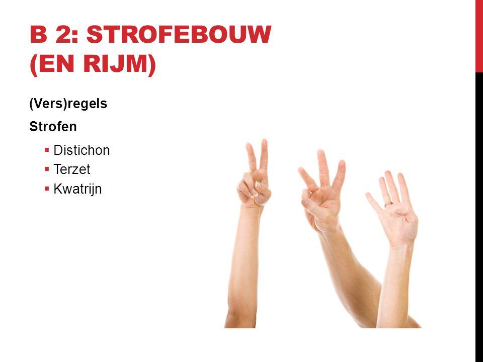 B 2: STROFEBOUW (EN RIJM) (Vers)regels Strofen  Distichon  Terzet  Kwatrijn