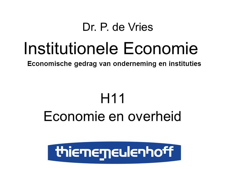 H11 Economie en overheid Institutionele Economie Economische gedrag van onderneming en instituties Dr. P. de Vries