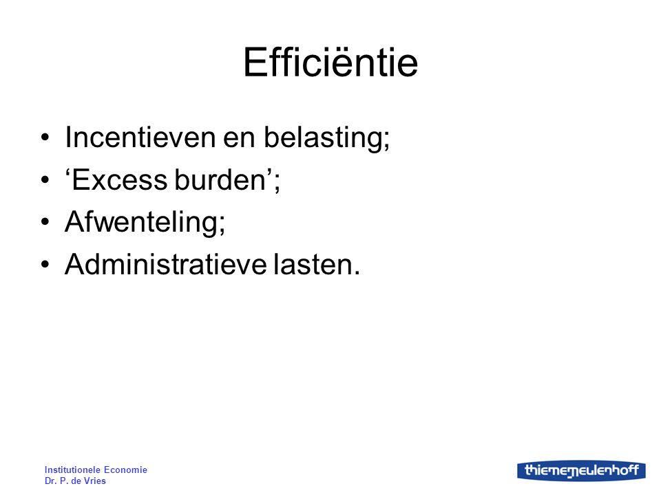 Institutionele Economie Dr. P. de Vries Efficiëntie Incentieven en belasting; 'Excess burden'; Afwenteling; Administratieve lasten.
