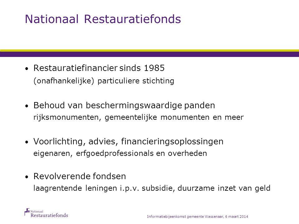 Hoe werkt een revolverend fonds? Informatiebijeenkomst gemeente Wassenaar, 6 maart 2014