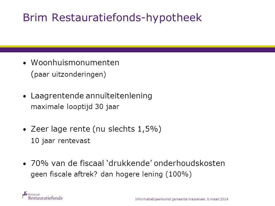 Informatiebijeenkomst gemeente Wassenaar, 6 maart 2014 Rekenvoorbeeld Totale restauratiekostenEUR60.000 waarvan (fiscale) onderhoudskosten - 50.000 Restauratiefonds-hypotheek 70% van EUR 50.000EUR 35.000 Fiscaal teruggave (34% IB) -13.600 Restfinanciering/eigen geld -11.400 TotaalEUR 60.000
