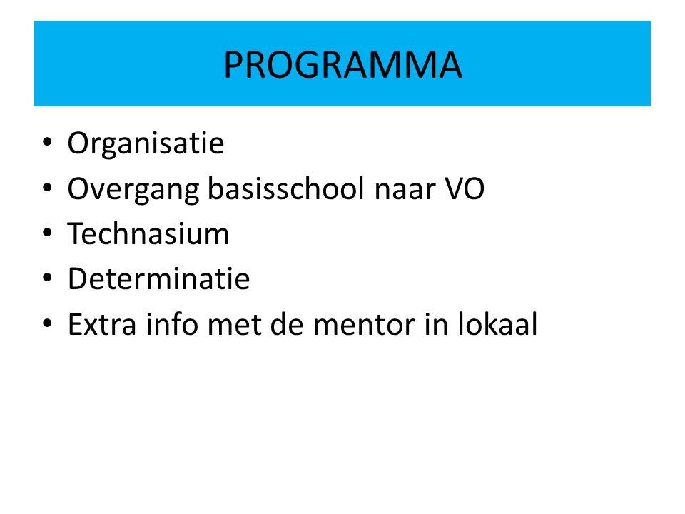 PROGRAMMA Organisatie Overgang basisschool naar VO Technasium Determinatie Extra info met de mentor in lokaal