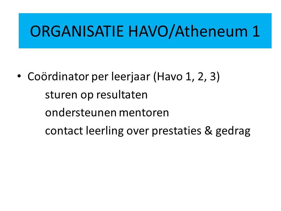 ORGANISATIE HAVO 2 Coördinator per leerjaar (Havo 1, 2, 3) sturen op resultaten ondersteunen mentoren contact leerling over prestaties & gedrag ORGANISATIE HAVO/Atheneum 1
