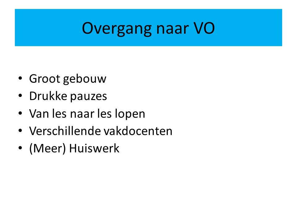 Overgang naar VO Groot gebouw Drukke pauzes Van les naar les lopen Verschillende vakdocenten (Meer) Huiswerk