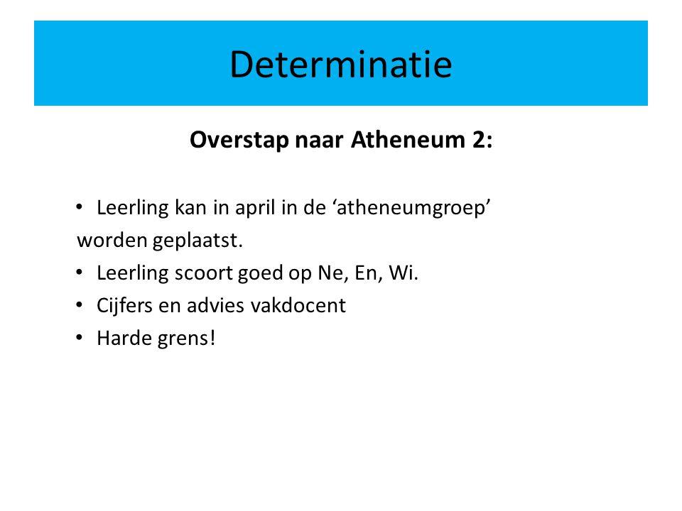 Determinatie Overstap naar Atheneum 2: Leerling kan in april in de 'atheneumgroep' worden geplaatst.