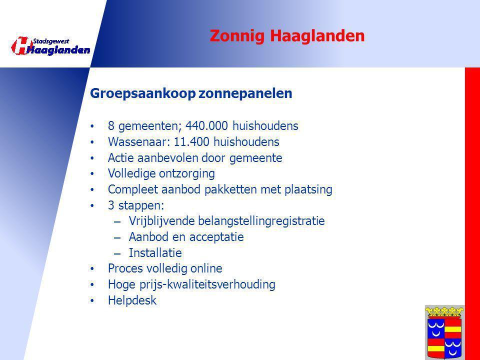 Groepsaankoop zonnepanelen 8 gemeenten; 440.000 huishoudens Wassenaar: 11.400 huishoudens Actie aanbevolen door gemeente Volledige ontzorging Compleet