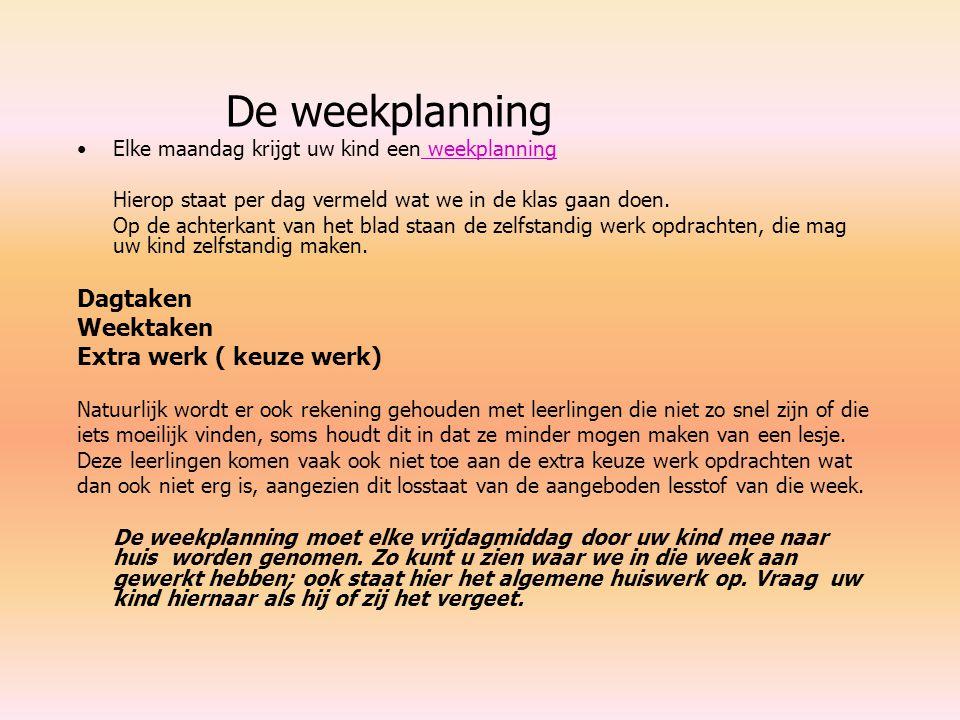 De weekplanning Elke maandag krijgt uw kind een weekplanning weekplanning Hierop staat per dag vermeld wat we in de klas gaan doen. Op de achterkant v