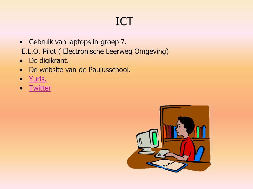 ICT Gebruik van laptops in groep 7. E.L.O. Pilot ( Electronische Leerweg Omgeving) De digikrant. De website van de Paulusschool. Yurls. Twitter