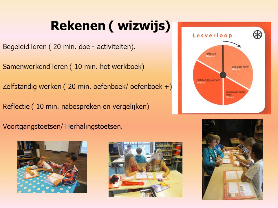 Rekenen ( wizwijs) Begeleid leren ( 20 min. doe - activiteiten). Samenwerkend leren ( 10 min. het werkboek) Zelfstandig werken ( 20 min. oefenboek/ oe
