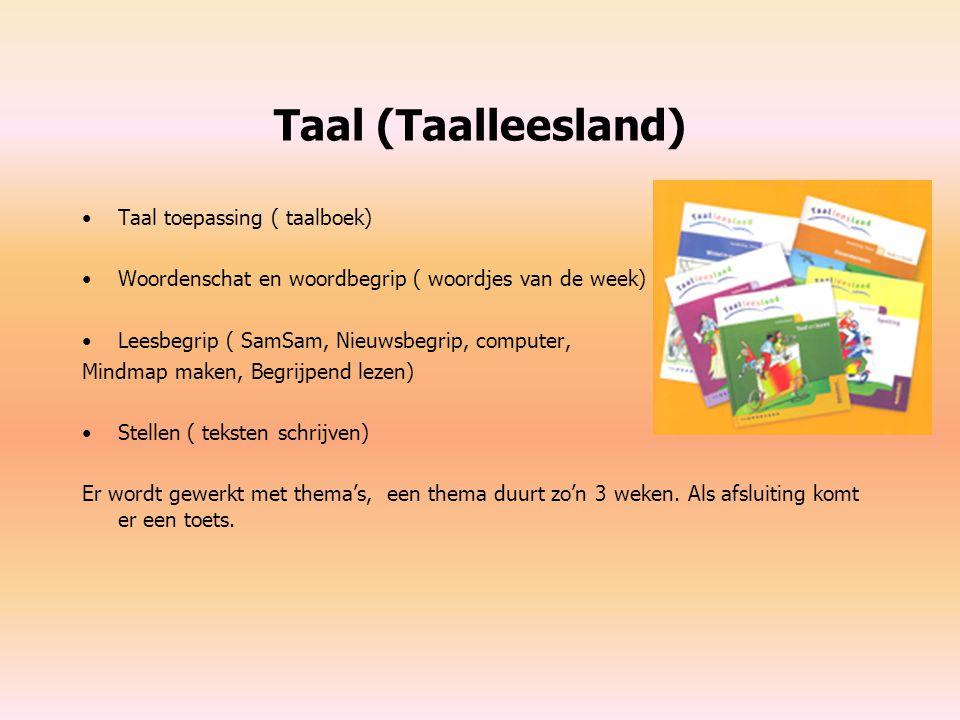 Taal (Taalleesland) Taal toepassing ( taalboek) Woordenschat en woordbegrip ( woordjes van de week) Leesbegrip ( SamSam, Nieuwsbegrip, computer, Mindm