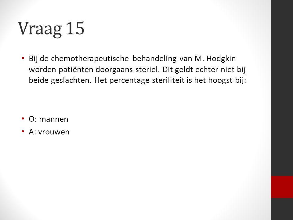 Vraag 15 Bij de chemotherapeutische behandeling van M. Hodgkin worden patiënten doorgaans steriel. Dit geldt echter niet bij beide geslachten. Het per