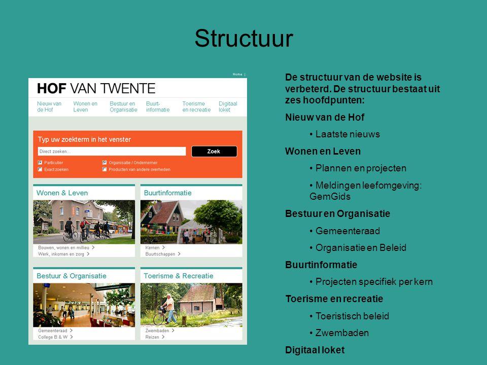 De structuur van de website is verbeterd. De structuur bestaat uit zes hoofdpunten: Nieuw van de Hof Laatste nieuws Wonen en Leven Plannen en projecte