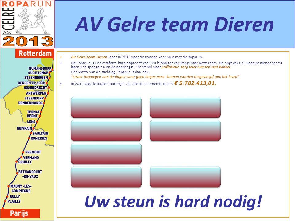 AV Gelre team Dieren AV Gelre team Dieren doet in 2013 voor de tweede keer mee met de Roparun. De Roparun is een estafette hardlooptocht van 520 kilom