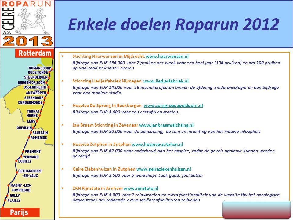 Enkele doelen Roparun 2012 Stichting Haarwensen in Mijdrecht. www.haarwensen.nlwww.haarwensen.nl Bijdrage van EUR 194.000 voor 2 pruiken per week voor