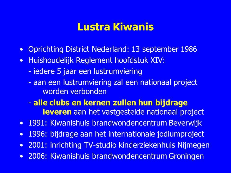 Lustra Kiwanis Oprichting District Nederland: 13 september 1986 Huishoudelijk Reglement hoofdstuk XIV: - iedere 5 jaar een lustrumviering - aan een lu