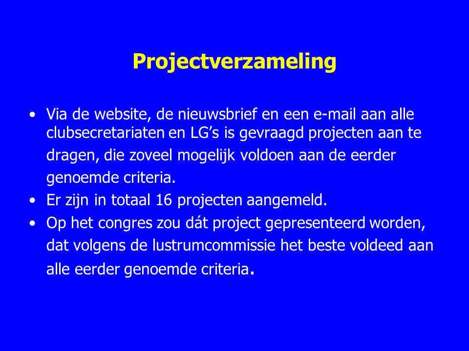 Projectverzameling Via de website, de nieuwsbrief en een e-mail aan alle clubsecretariaten en LG's is gevraagd projecten aan te dragen, die zoveel mog