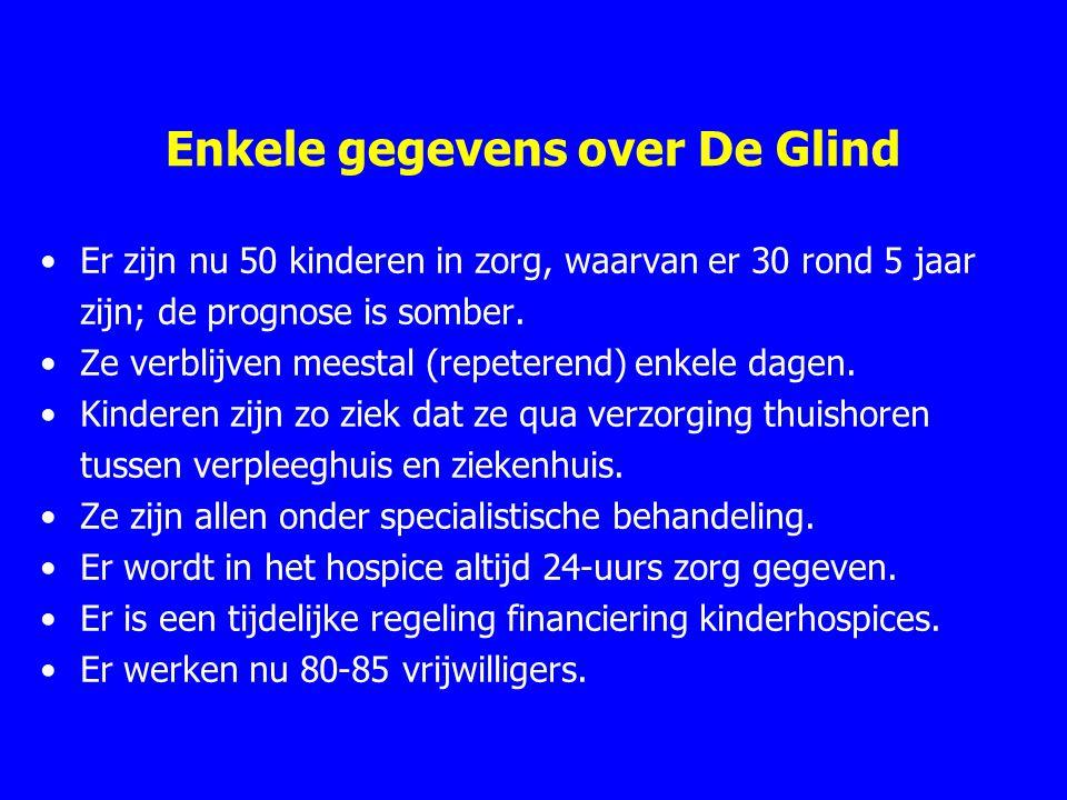 Enkele gegevens over De Glind Er zijn nu 50 kinderen in zorg, waarvan er 30 rond 5 jaar zijn; de prognose is somber. Ze verblijven meestal (repeterend