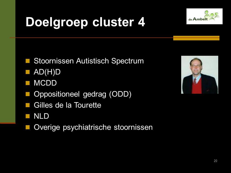 20 Doelgroep cluster 4 Stoornissen Autistisch Spectrum AD(H)D MCDD Oppositioneel gedrag (ODD) Gilles de la Tourette NLD Overige psychiatrische stoorni
