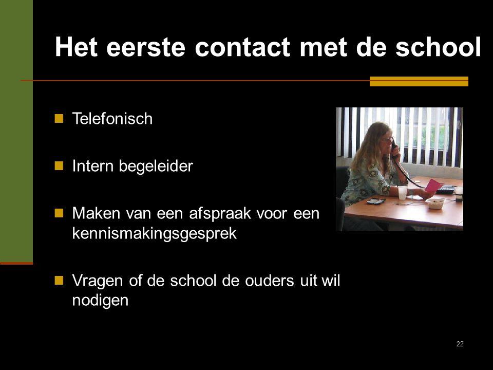 22 Het eerste contact met de school Telefonisch Intern begeleider Maken van een afspraak voor een kennismakingsgesprek Vragen of de school de ouders u