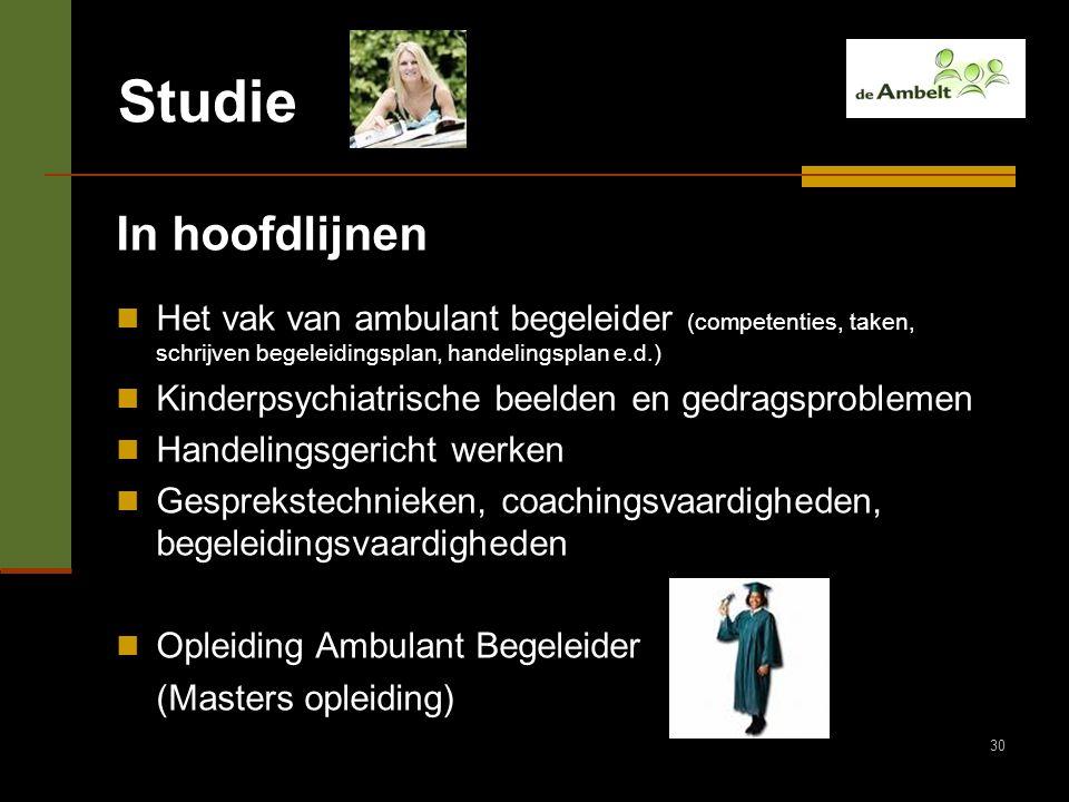 30 Studie In hoofdlijnen Het vak van ambulant begeleider (competenties, taken, schrijven begeleidingsplan, handelingsplan e.d.) Kinderpsychiatrische b