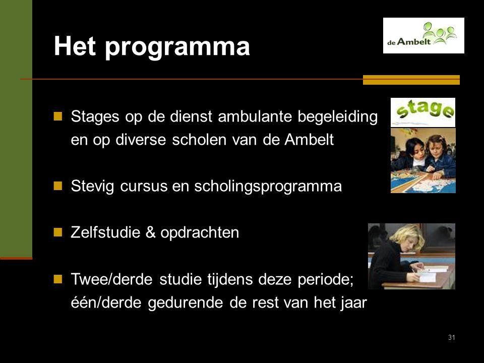 31 Het programma Stages op de dienst ambulante begeleiding en op diverse scholen van de Ambelt Stevig cursus en scholingsprogramma Zelfstudie & opdrac