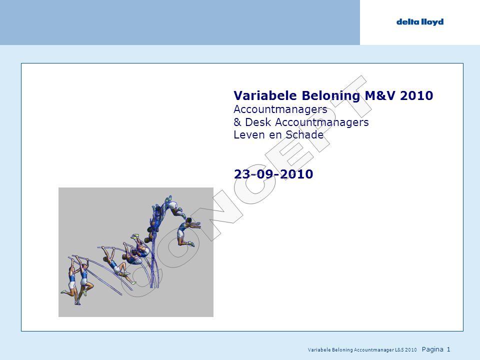 Variabele Beloning Accountmanager L&S 2010 Pagina 1 Variabele Beloning M&V 2010 Accountmanagers & Desk Accountmanagers Leven en Schade 23-09-2010