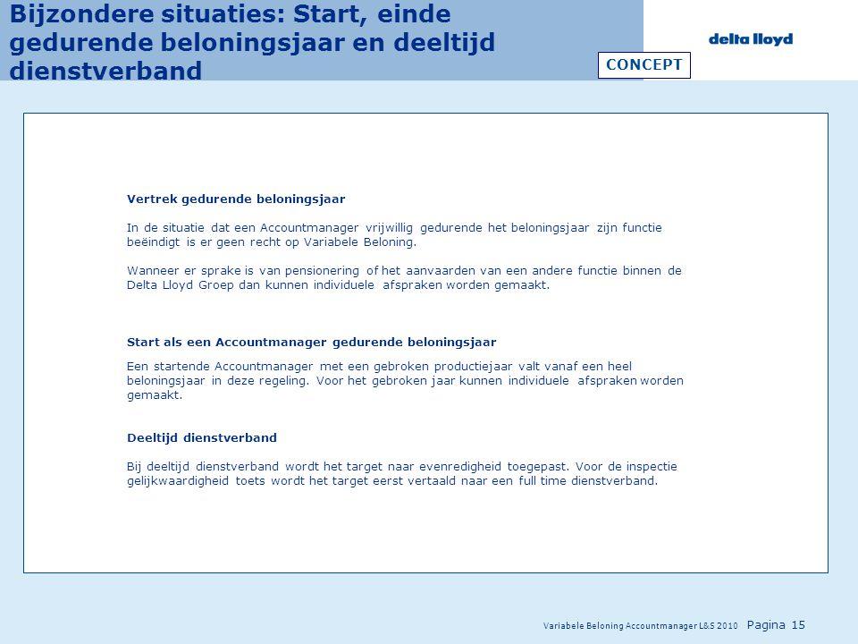 Variabele Beloning Accountmanager L&S 2010 Pagina 15 Bijzondere situaties: Start, einde gedurende beloningsjaar en deeltijd dienstverband Vertrek gedu