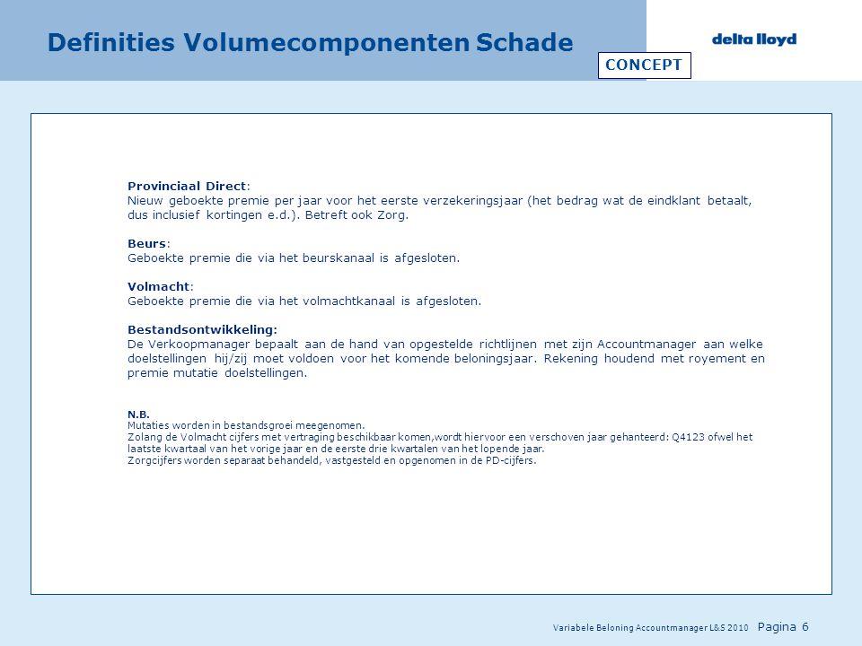 Variabele Beloning Accountmanager L&S 2010 Pagina 6 Definities Volumecomponenten Schade Provinciaal Direct: Nieuw geboekte premie per jaar voor het ee