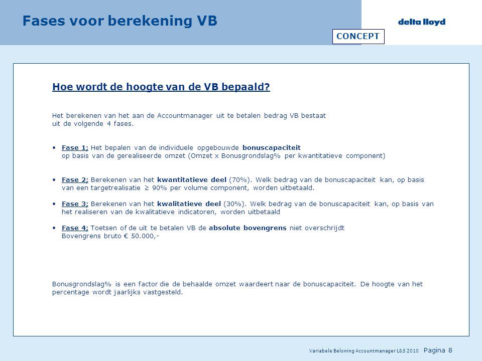 Variabele Beloning Accountmanager L&S 2010 Pagina 8 Hoe wordt de hoogte van de VB bepaald? Het berekenen van het aan de Accountmanager uit te betalen