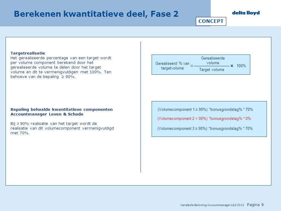 Variabele Beloning Accountmanager L&S 2010 Pagina 9 Berekenen kwantitatieve deel, Fase 2 Targetrealisatie Het gerealiseerde percentage van een target