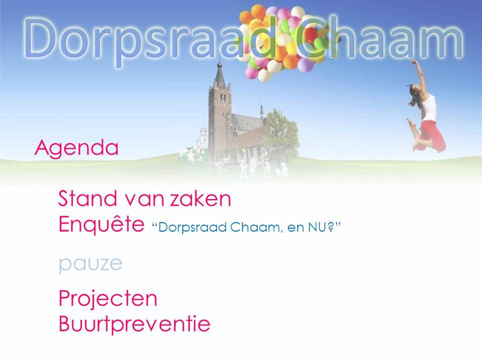 """Agenda Stand van zaken Enquête """"Dorpsraad Chaam, en NU?"""" pauze Projecten Buurtpreventie"""