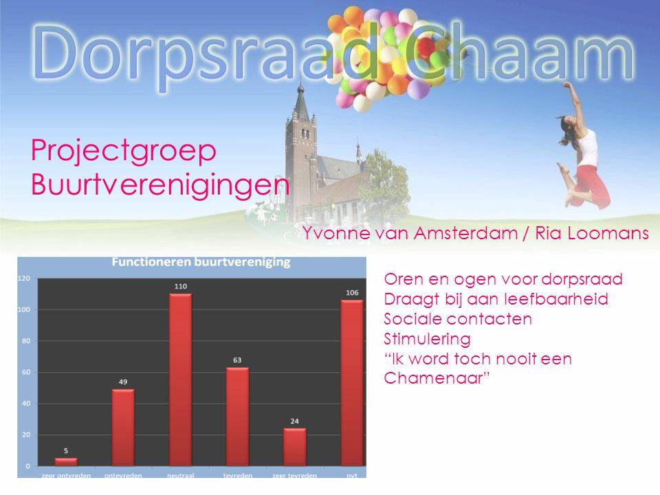 Projectgroep Buurtverenigingen Yvonne van Amsterdam / Ria Loomans Oren en ogen voor dorpsraad Draagt bij aan leefbaarheid Sociale contacten Stimulerin