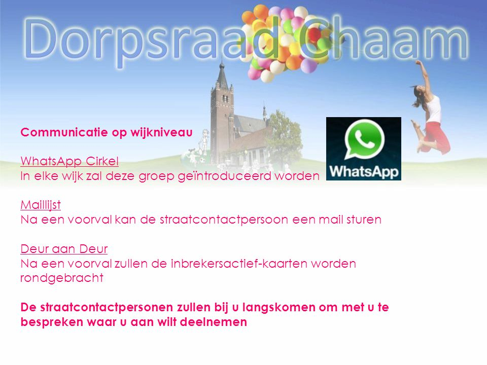 Communicatie op wijkniveau WhatsApp Cirkel In elke wijk zal deze groep geïntroduceerd worden Maillijst Na een voorval kan de straatcontactpersoon een