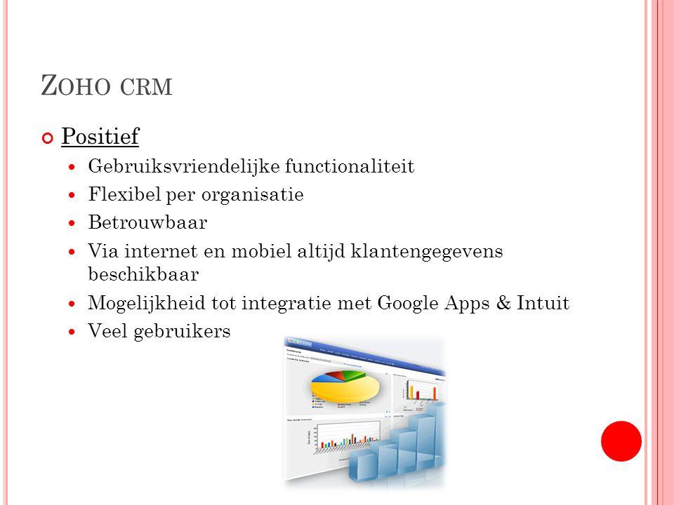 Z OHO CRM Positief Gebruiksvriendelijke functionaliteit Flexibel per organisatie Betrouwbaar Via internet en mobiel altijd klantengegevens beschikbaar Mogelijkheid tot integratie met Google Apps & Intuit Veel gebruikers