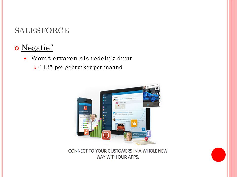 SALESFORCE Negatief Wordt ervaren als redelijk duur € 135 per gebruiker per maand