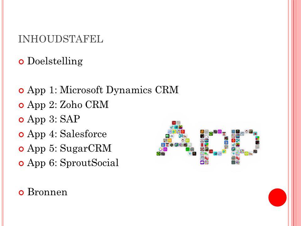 INHOUDSTAFEL Doelstelling App 1: Microsoft Dynamics CRM App 2: Zoho CRM App 3: SAP App 4: Salesforce App 5: SugarCRM App 6: SproutSocial Bronnen