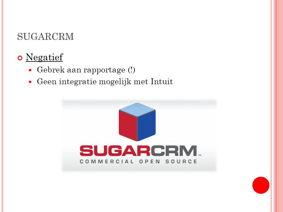 SUGARCRM Negatief Gebrek aan rapportage (!) Geen integratie mogelijk met Intuit