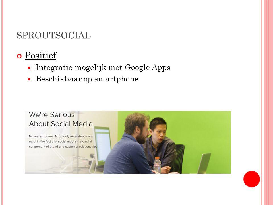 SPROUTSOCIAL Positief Integratie mogelijk met Google Apps Beschikbaar op smartphone