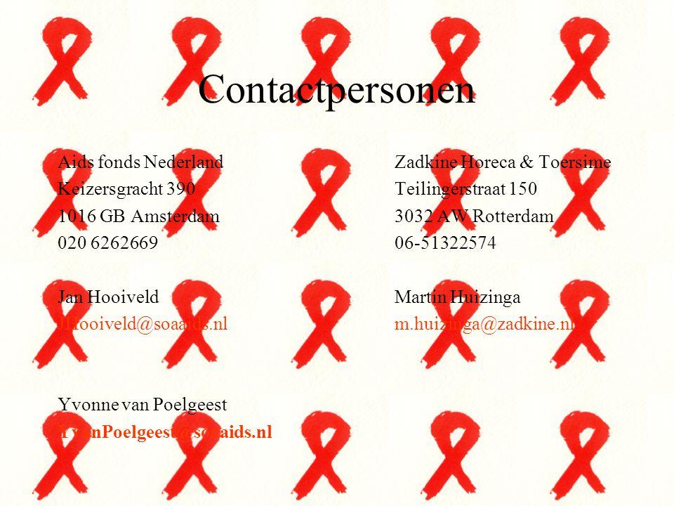 Contactpersonen Aids fonds NederlandZadkine Horeca & Toersime Keizersgracht 390Teilingerstraat 150 1016 GB Amsterdam3032 AW Rotterdam 020 626266906-51
