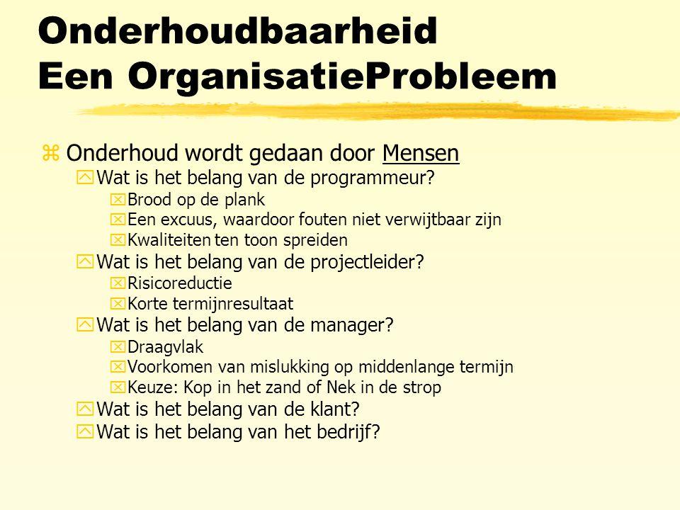 Onderhoudbaarheid Een OrganisatieProbleem zOnderhoud wordt gedaan door Mensen yWat is het belang van de programmeur.