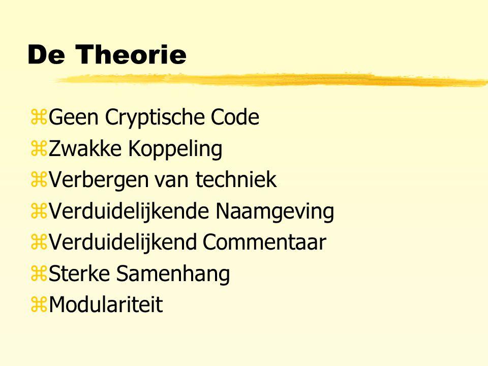 De Theorie zGeen Cryptische Code zZwakke Koppeling zVerbergen van techniek zVerduidelijkende Naamgeving zVerduidelijkend Commentaar zSterke Samenhang zModulariteit