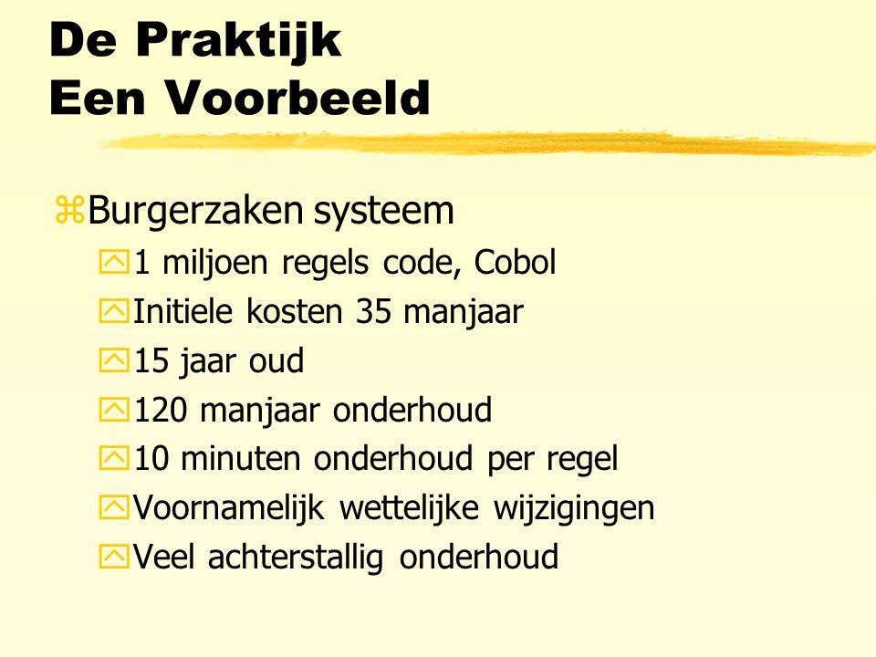 De Praktijk Een Voorbeeld zBurgerzaken systeem y1 miljoen regels code, Cobol yInitiele kosten 35 manjaar y15 jaar oud y120 manjaar onderhoud y10 minuten onderhoud per regel yVoornamelijk wettelijke wijzigingen yVeel achterstallig onderhoud