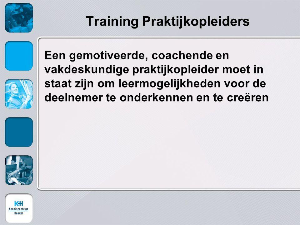 Training Praktijkopleiders Een gemotiveerde, coachende en vakdeskundige praktijkopleider moet in staat zijn om leermogelijkheden voor de deelnemer te