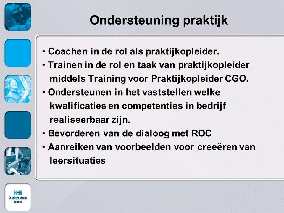 Ondersteuning praktijk Coachen in de rol als praktijkopleider.