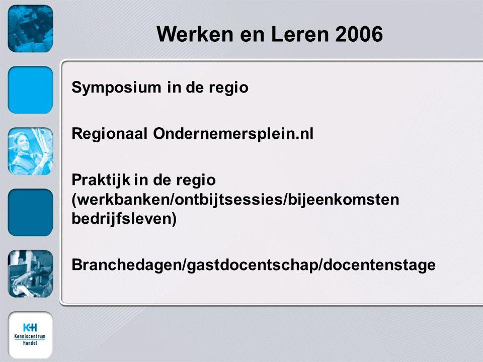 Werken en Leren 2006 Symposium in de regio Regionaal Ondernemersplein.nl Praktijk in de regio (werkbanken/ontbijtsessies/bijeenkomsten bedrijfsleven) Branchedagen/gastdocentschap/docentenstage