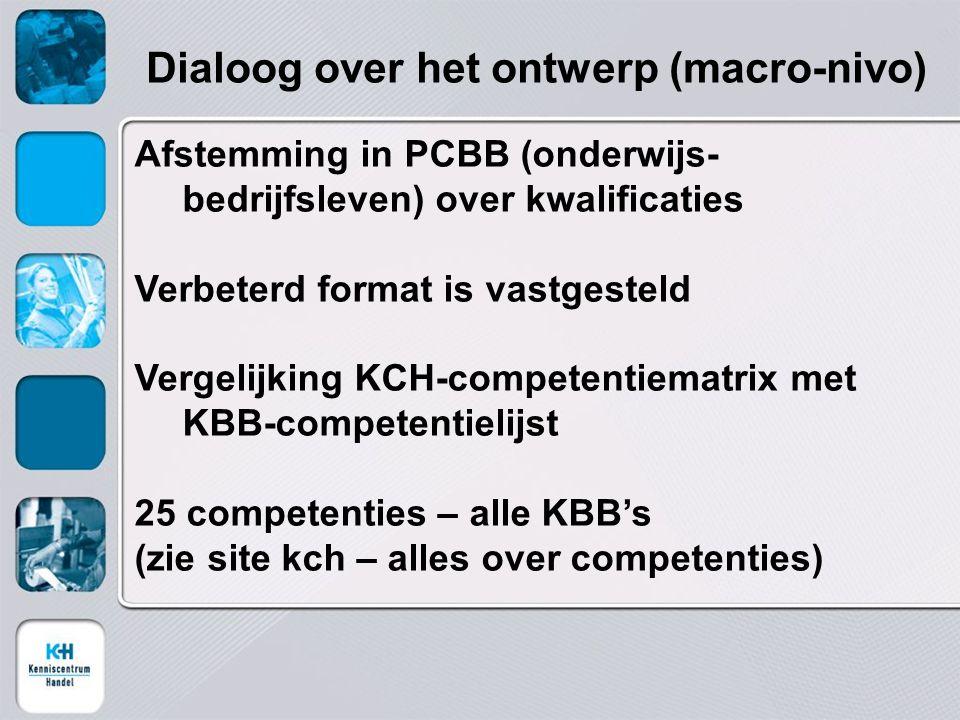 Afstemming in PCBB (onderwijs- bedrijfsleven) over kwalificaties Verbeterd format is vastgesteld Vergelijking KCH-competentiematrix met KBB-competentielijst 25 competenties – alle KBB's (zie site kch – alles over competenties) Dialoog over het ontwerp (macro-nivo)