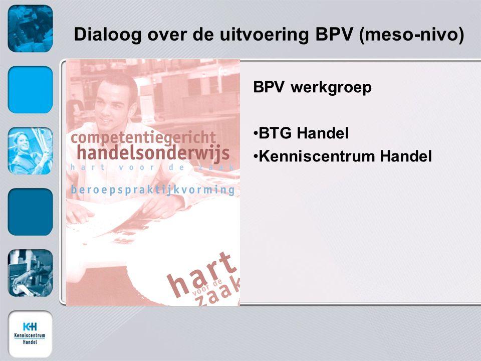 Dialoog over de uitvoering BPV (meso-nivo) BPV werkgroep BTG Handel Kenniscentrum Handel