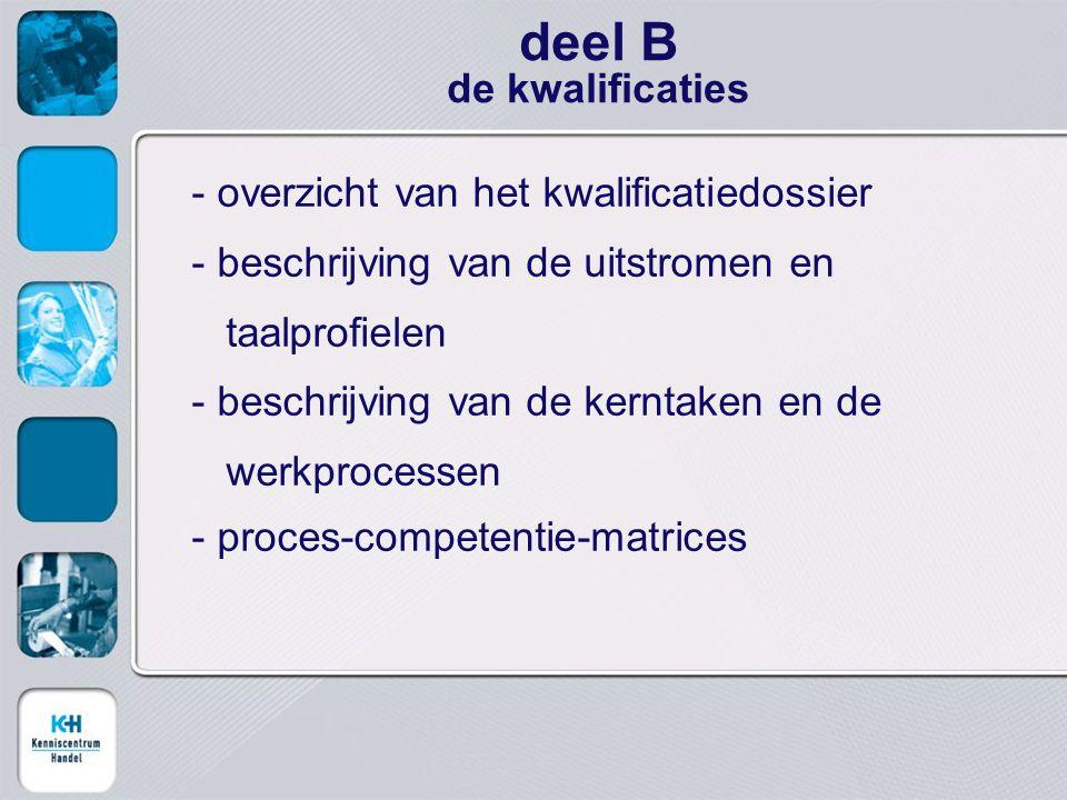 - overzicht van het kwalificatiedossier - beschrijving van de uitstromen en taalprofielen - beschrijving van de kerntaken en de werkprocessen - proces-competentie-matrices deel B de kwalificaties