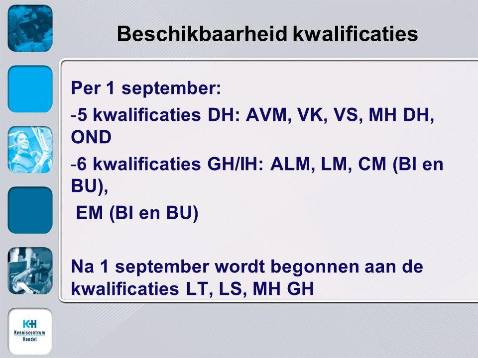 Beschikbaarheid kwalificaties Per 1 september: -5 kwalificaties DH: AVM, VK, VS, MH DH, OND -6 kwalificaties GH/IH: ALM, LM, CM (BI en BU), EM (BI en BU) Na 1 september wordt begonnen aan de kwalificaties LT, LS, MH GH
