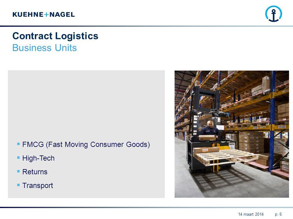  FMCG (Fast Moving Consumer Goods)  High-Tech  Returns  Transport p. 6 Contract Logistics Business Units 14 maart 2014